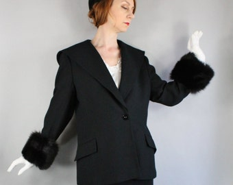 80s does 50s Womens Plus Size Black Wool Fox Fur Jacket, vlv, Pinup, Marilyn, Audrey Hepburn, Bombshell, Formal, Size Large