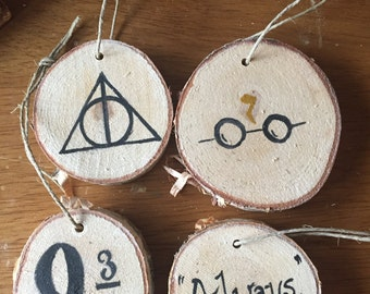 harry potter christmas ornament four pack, gift for your hogwarts loving friend