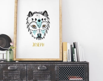 DIY Printable Personalized Moon Phase Wolf Illustration Calligraphy