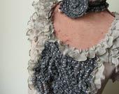 Chiffon Mori Girl Dress, Upcycled Tunic, Shabby Tattered Ruffle Tops, Recycled Repurposed Clothing, Mori Kei Ruffle Dress, Boho Clothing