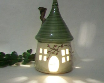 Fairy House/ Night Light - Green Roof - Cottage Style - Hand Painted Rose Vine - With Electric Cord - Ready to Ship - Actual