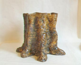 Tree Stump, Tree Trunk  - Unique Container - Vase  - Each is a  One of a Kind - Larger Size -- Wheel Thrown and Sculpted  - Ready to Ship