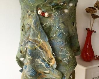 nuno  Felted wool scarf shawl slate blue green gold mustard wrap scarf - lagenlook