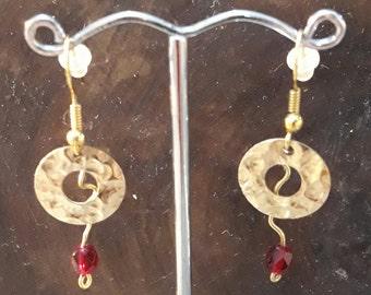 Hammered Gold Filled Earrings, Garnet Red Earrings, Dangle Earrings, Jewelry by Burnish, disc earrings, minimalist earrings, circle earrings