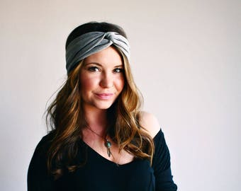 Gray Pinstripe - Turban Style Headband