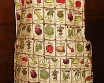 Beautiful Kitchen Cobbler Lined Apron Smock Antique Seed Packages Handmade Kitchen Cooking Craft Activities Excellent Clothing Protectors