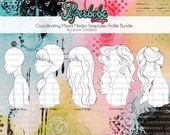 Mixed Media Templates ~ Female Profile Face Bundle - Paperbabe Stamps - Mylar templates - For mixed media, paper crafting and scrapbooking.