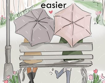 Friendship Makes Life's Storms Easier - Cards for Friends - Art for Women -Friendship Quotes  Art for Women - Inspirational Art