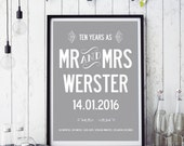 Personalized 10 year wedding anniversary - name and date cutomized print. A3 luxury poster print.