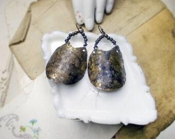 Rustic Metal Shield Earrings - Hammered Brass & Oxidized Metal Beads - All Metal Earrings - Salvaged Brass, Tiny Vintage Metal Seed Beads