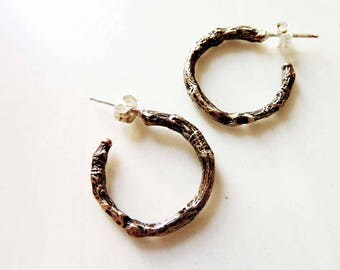 Linden Twig Hoop Earrings, Oxidized Bronze and Sterling Silver, Lost Wax Cast, Organic Nature Woodland, Bark Texture, Everyday Earrings