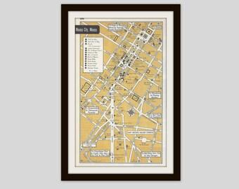 Mexico City Mexico Map City Map Street Map 1950s Bronze Black