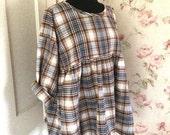 Brown Blue White Plaid Dress Tunic  Shirt Prairie Dress Ready To Ship 50 Bust
