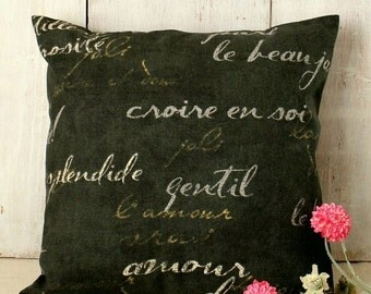 Black Script Pillow Cover - French Script - Penmanship Pillow - Black Gold Pillow - Black Pillow - Shabby Cottage Chic - Industrial