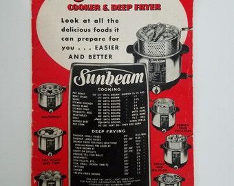 Vintage, 1952 Sunbeam Cooker Deep Fryer Cookbook Sunbeam Cook Guide