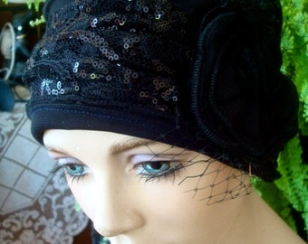 womens black chemo Hat embroidered with black sequins soft hat with detachable flower