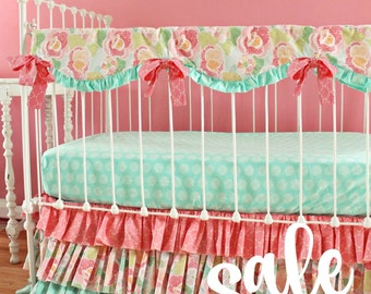30% OFF SALE Mint and Coral Baby Bedding set , Mint Mosaic Floral Bumperless crib bedding, baby girl nursery bedding RTS by lottiedababy
