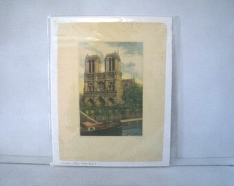 Notre-Dame de Paris Cathedral Print French Etching - Signed Huberty Hubert Huberly - Hand Colored Print