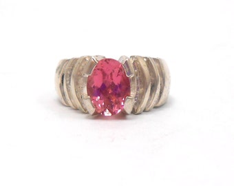 Tourmaline Genuine Upcycled Pink Gemstone Sterling Silver Ring October Birthstone