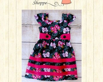 Winter Dress - Size 5 Floral and Hot pink