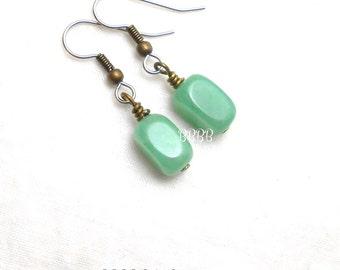 Green Aventurine Drop Earrings Bronzed Accents Steel French Hooks Gemstones