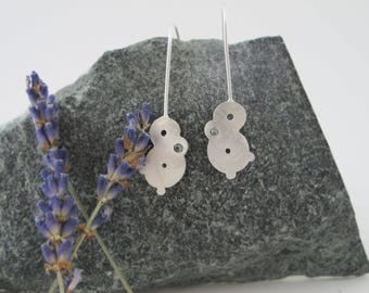Bubble Earrings with Glass Rivet, Medium Silver