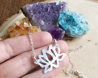 Lotus pendant necklace, metal lotus blossom pendant, small lotus pendant