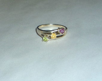 Natural Ruby, Citrine & Mongolian Peridot Ring Sterling Silver .925