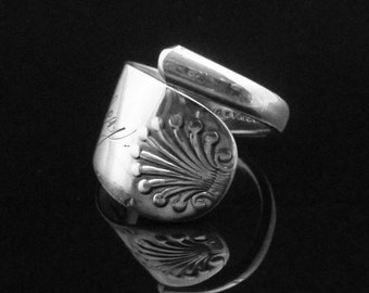 Ocean Themed Shell Sterling Spoon Ring, Monogrammed