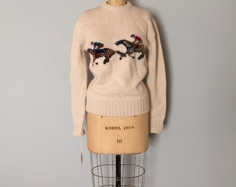 Equestrian wool sweater | horse racing print pullover sweater