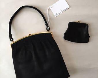1930s top handle purse | black suede framed kiss lock purse