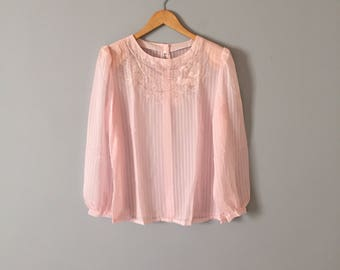 angel pink embroidered blouse | new old stock | striped semi sheer victorian blouse