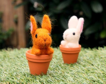Felted Miniature Bunnies in Pots
