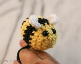 Bee Amigurumi Ponytail Holder - Hand Crochet - Set of 2