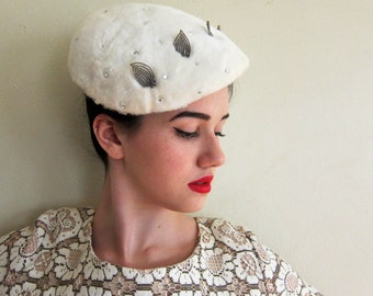 Vintage 1950s White Pancake Hat in Fuzzy Faux Fur, Beads and Rhinestones / 50s OOAK Close Cocktail Hat