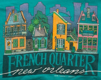 New Orleans French Quarter T-Shirt, Teal Blue, Vintage 80s-90s, Downtown Buildings, The Big Easy, Louisiana Graphic Tee