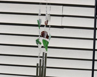 REAL Sea Glass Wind Chime Sun Catcher OOAK