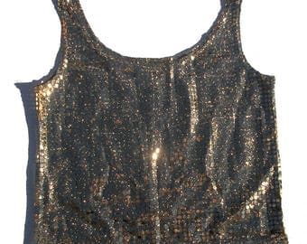 M gold sequin 90s vintage sparkle sleeveless tank top women vintage cami disco inspired style metallic gold and black medium top blouse club