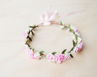 pink festive flower crown // pink flower crown / pink flower headband / pink flower crown / pastel crown / wedding