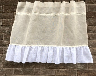 Sheer Linen Curtain, Natural Rustic Kitchen Window Curtain, Bathroom Curtain, French Linen Lace Cafe Curtain, Farmhouse Kitchen