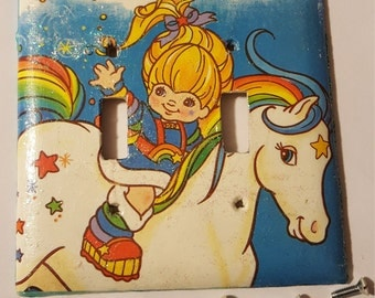 Rainbow Brite Decoupaged Light switch cover