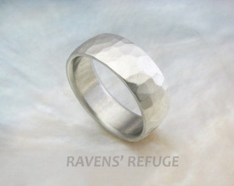 7mm wide rustic hammered white gold wedding band with matte finish, comfort fit