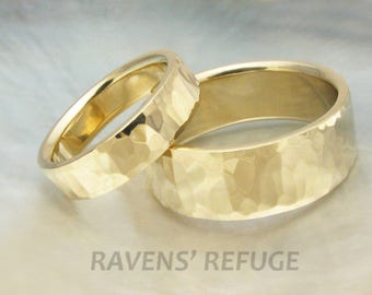 his and hers hammered gold wedding band set -- 8mm and 5mm wide matching weddding rings, waterfall hammering