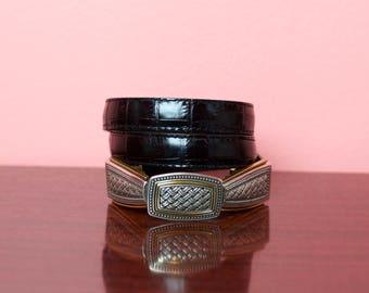 VTG Embossed Black Leather Belt w/ Detachable Buckle
