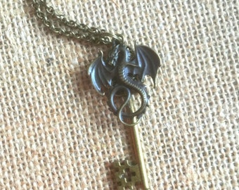 Dragon Key Necklace, Dragon Pendant, Fantasy Jewelry, Flying Serpent Key, Silver or Bronze