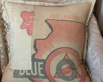 Grain Sack  Pillow Cover Blue Seal Illinois Farm Supply Company by Gathered Comforts