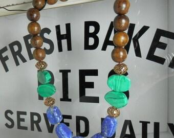 Malachite, Lapis Lazuli, Bronze Filigree and Wood Necklace