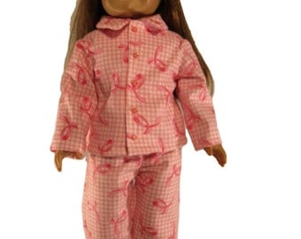 Pink breast cancer ribbon flannel doll pajamas fits 18 inch dolls like american girl