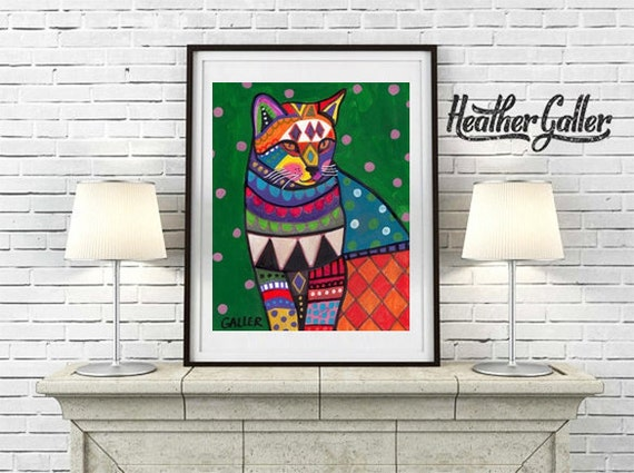 Cat Art print Ginger Orange Cat Poster by Heather Galler (Hg256)