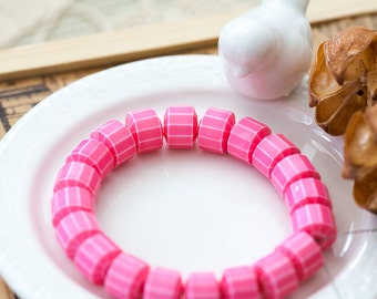 Vintage Pink with White Stripes Lucite Beads